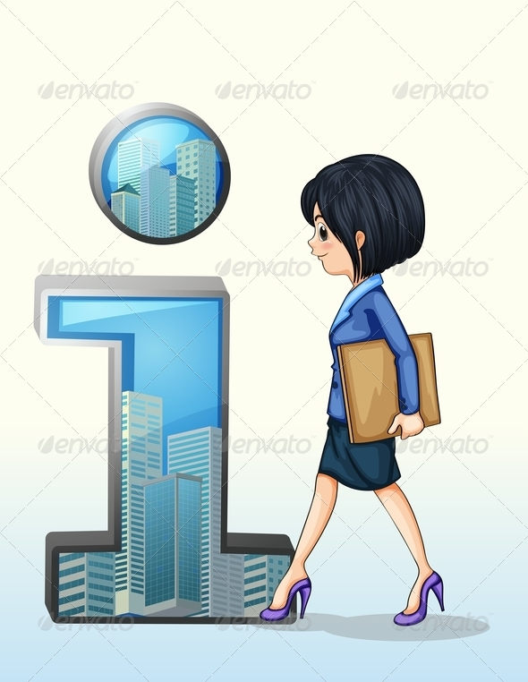 GraphicRiver Businesswoman Walking Near letter i 8032285