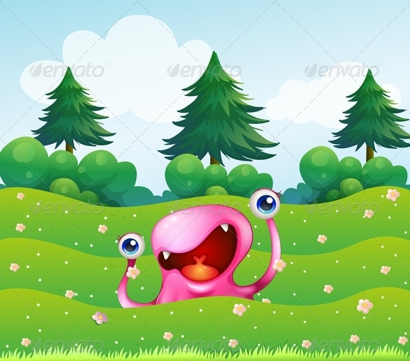 GraphicRiver Pink Monster in the Field 8032310
