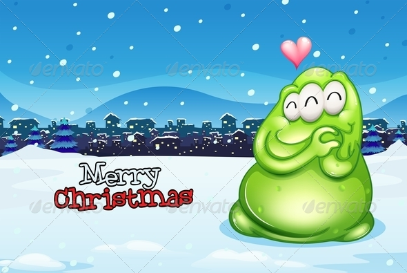 GraphicRiver Christmas Card with Happy Monster 8032419