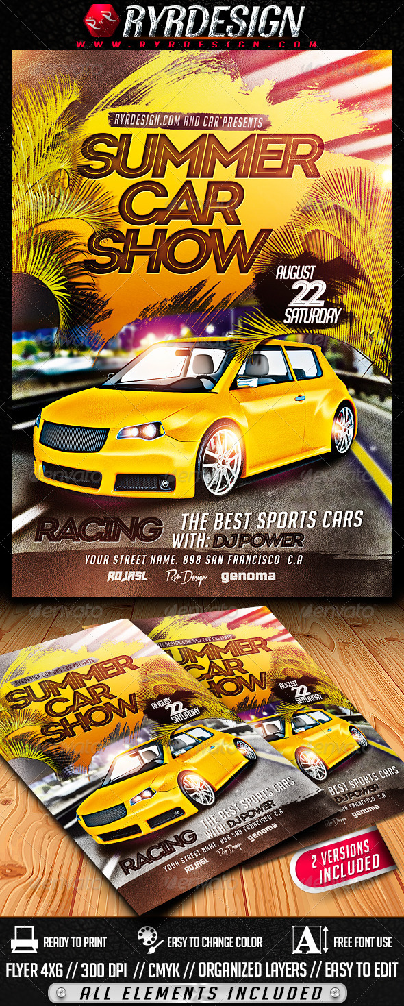 GraphicRiver Summer Car Show Flyer PSD 8032528