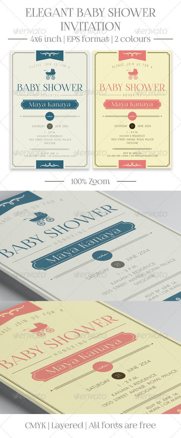 GraphicRiver Elegant Baby Shower Invitation 8032567