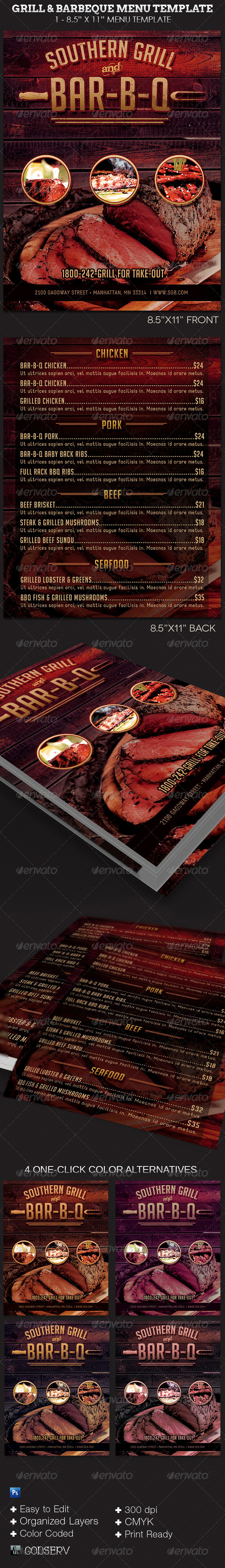 GraphicRiver Grill and Barbecue Restaurant Menu Template 8032735