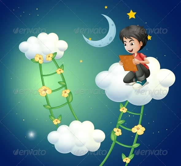 GraphicRiver Boy on Cloud with Book 8032813