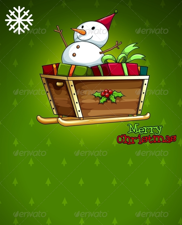 Christmas Card with Snowman and Sleigh