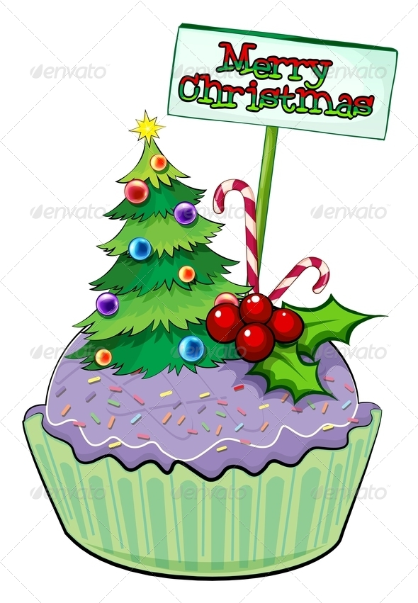 GraphicRiver Cupcake with Christmas Tree and Sign 8032902