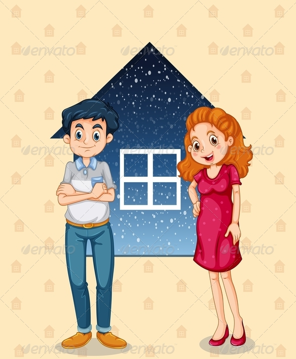 GraphicRiver Couple Standing in Front of House Background 8032948