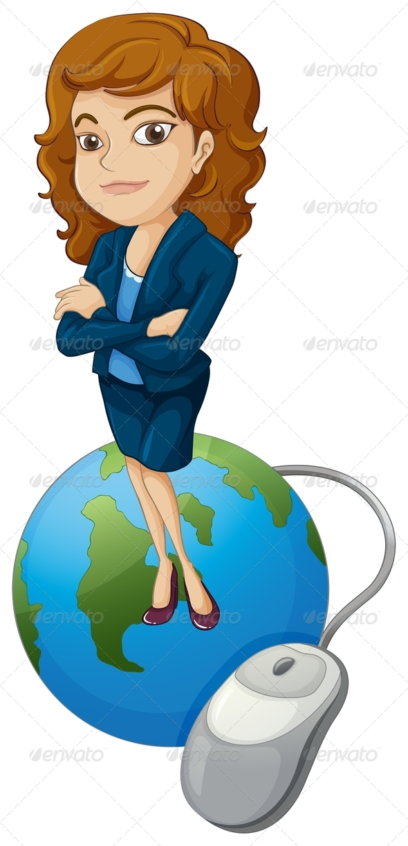GraphicRiver Woman on Globe with Computer Mouse 8032998