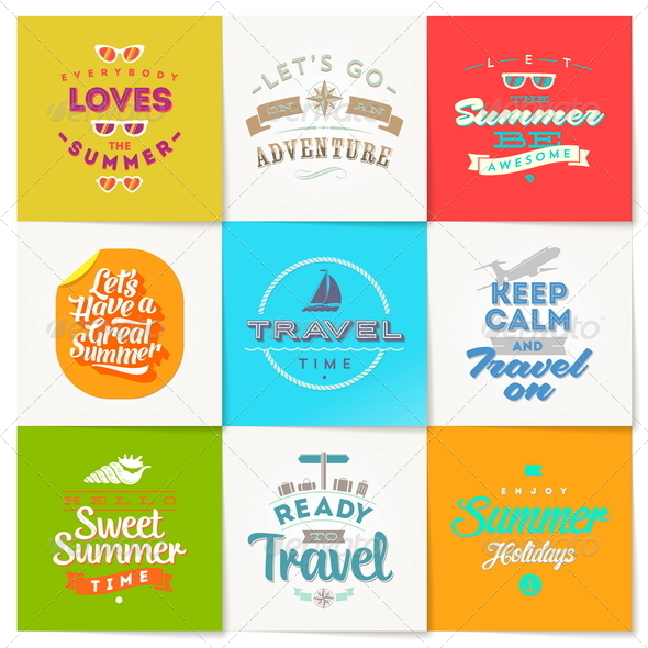 Set of Travel and Vacation Type Emblems and Symbol