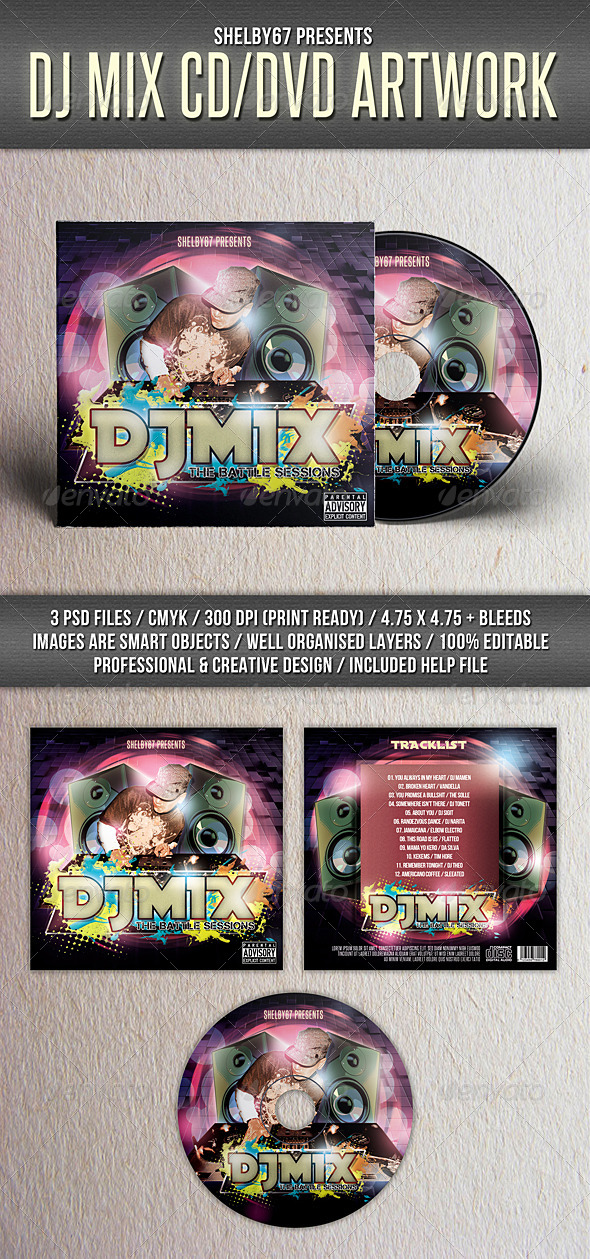 GraphicRiver DJ Mix Mixtape CD DVD Artwork Template 8033483