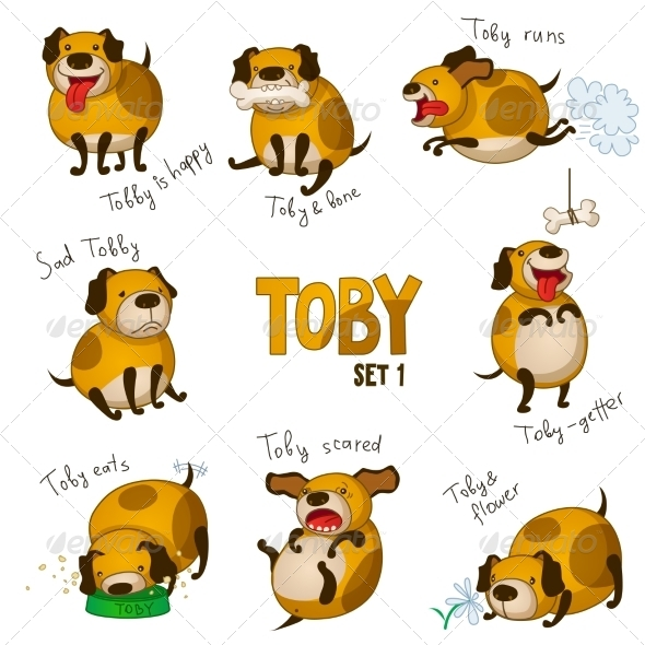 GraphicRiver Cartoon Dog Toby Set 1 8033620