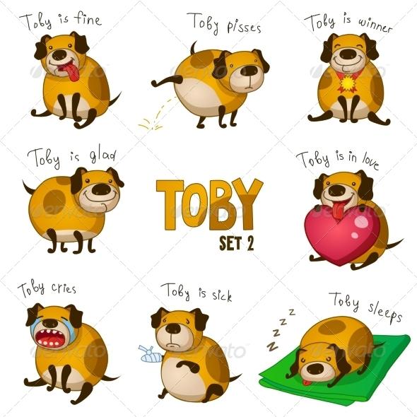 GraphicRiver Cartoon Dog Toby Set 2 8033621