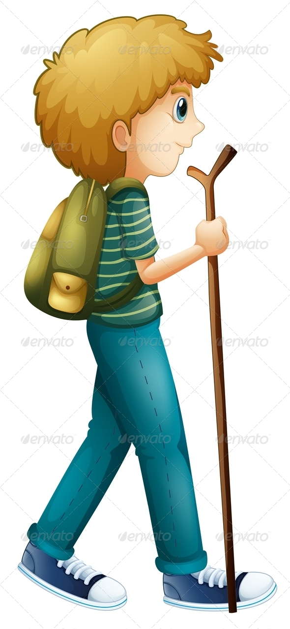 Boy Hiking with a Pole
