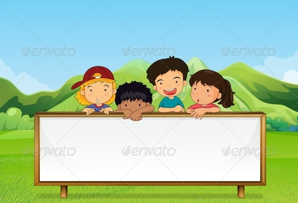 GraphicRiver Kids with Empty Sign 8034361