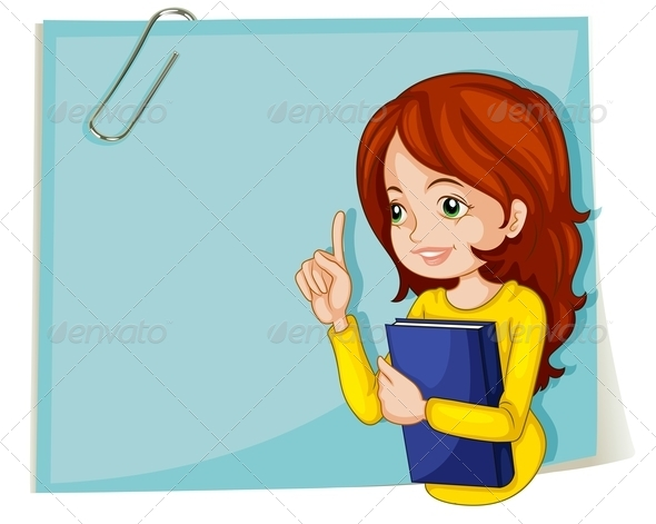GraphicRiver Lady with Book and Empty Notepaper 8035086