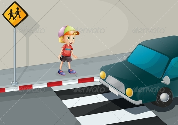 GraphicRiver Young Boy at Pedestrian Crossing 8035169