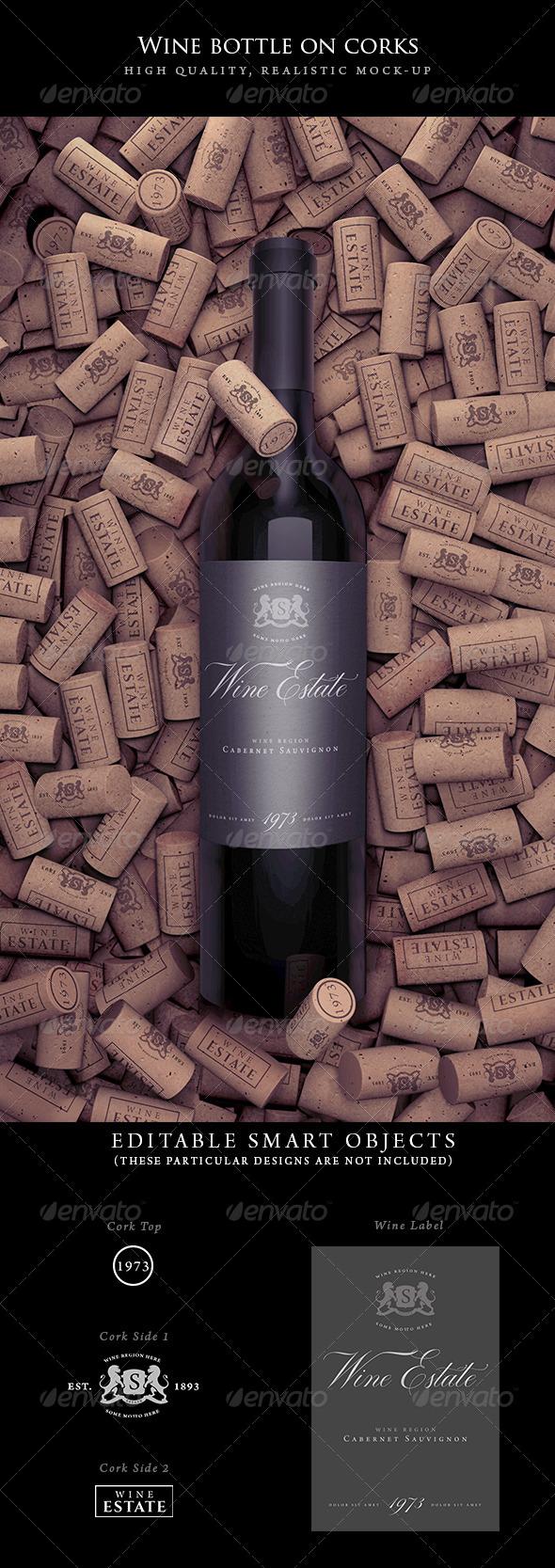 Wine Bottle on Corks Mock-Up