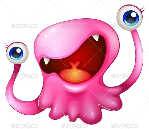 GraphicRiver Excited Pink Monster 8035345