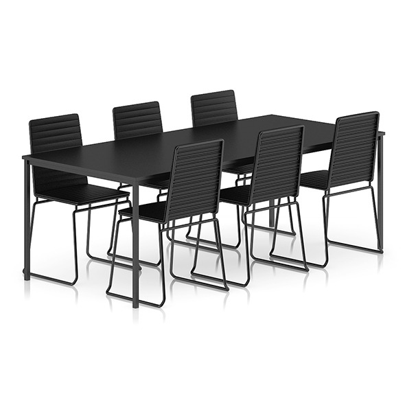 3DOcean Black Table and Chairs Set 8035681