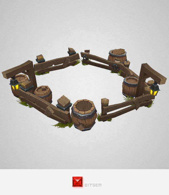 3DOcean Low Poly Barrel n Fence Set 8035687