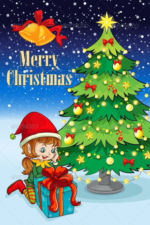 GraphicRiver Elf With Gift Near Christmas Tree 8035713