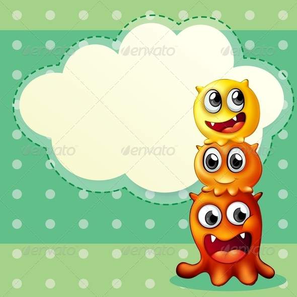 GraphicRiver Three Monsters with Empty Cloud 8035930