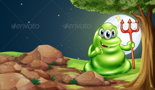 GraphicRiver Scary Monster Under Tree 8036368