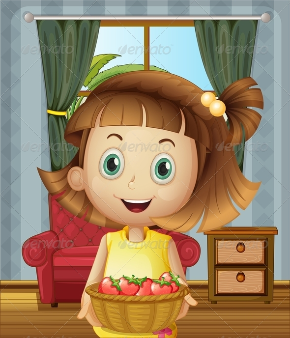 GraphicRiver Girl with a Basket of Strawberries 8036465