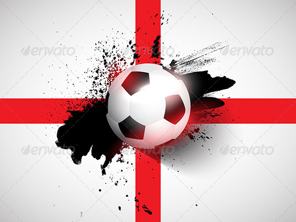 Football on Grunge England Flag