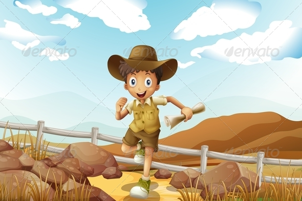 GraphicRiver Young Explorer Running with Map in Hand 8036569