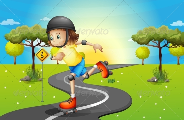 GraphicRiver Girl Rollerskating on the Path 8036580