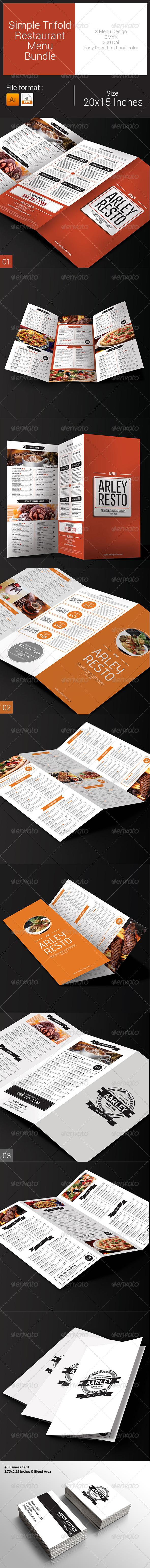 GraphicRiver Simple Trifold Restaurant Menu Bundle 8036692