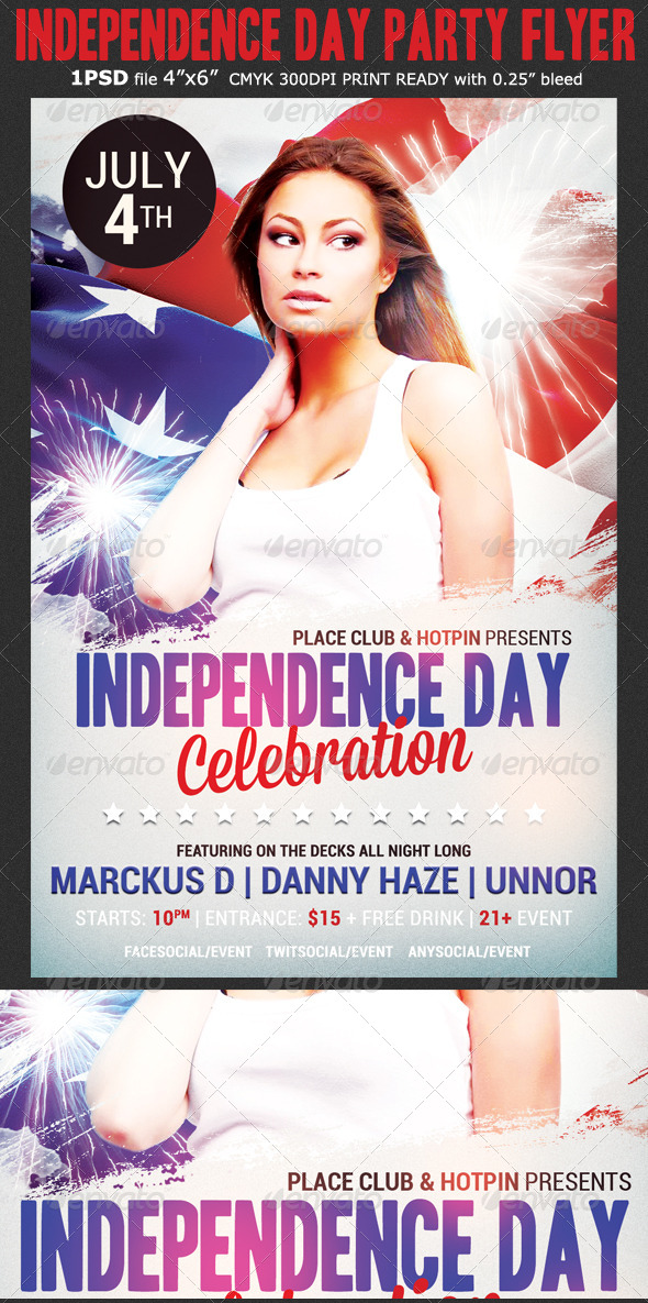 GraphicRiver Independence Day Party Flyer 8036835