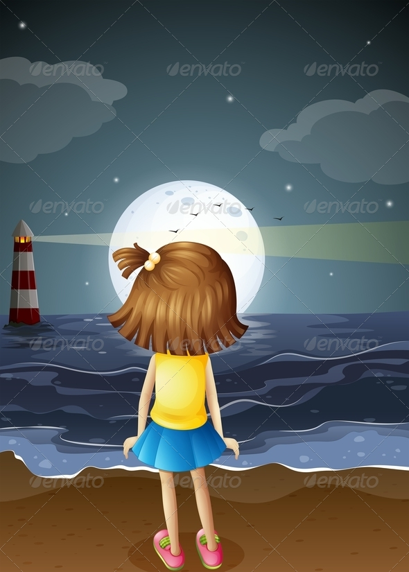 GraphicRiver Girl at the Beach Watching the Moon 8037071