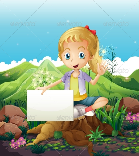 GraphicRiver Girl in Nature Holding Empty Sign 8037077