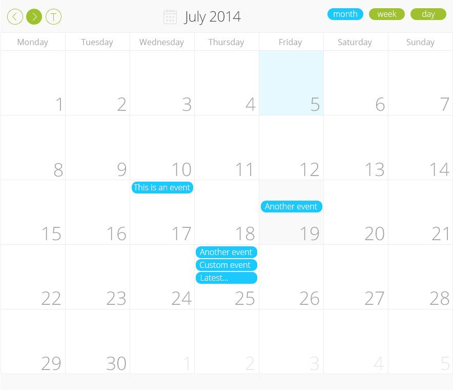 Nyx PRO scheduler Calendar for WordPress