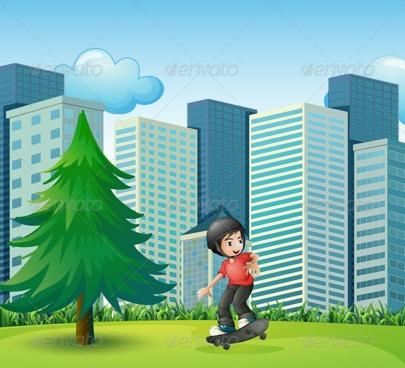 GraphicRiver Boy Skateboarding Near Buildings 8037317