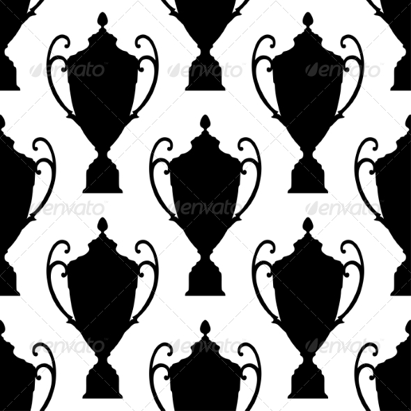 GraphicRiver Black Silhouette Trophy Cup Seamless Pattern 8037818