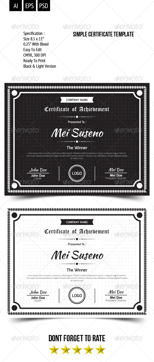 GraphicRiver Simple Certificate Template 8037822