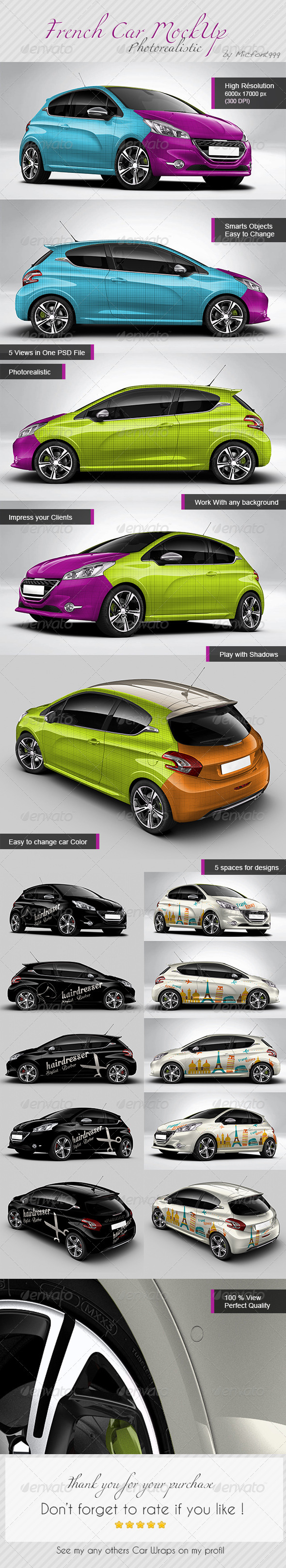 GraphicRiver Photorealistic French Car Mock-up 8016578