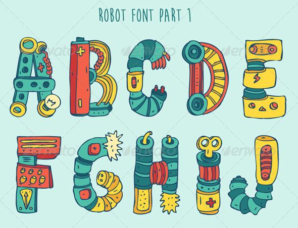 GraphicRiver Cartoon Colorful Robot Font Part 1 8038029