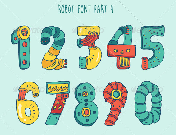 GraphicRiver Cartoon Colorful Robot Font Part 4 8038093