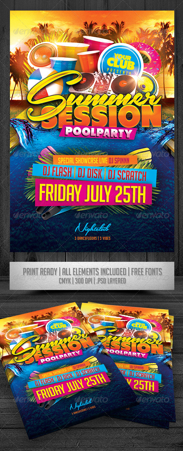 GraphicRiver Summer Session Pool Party Flyer 8038118