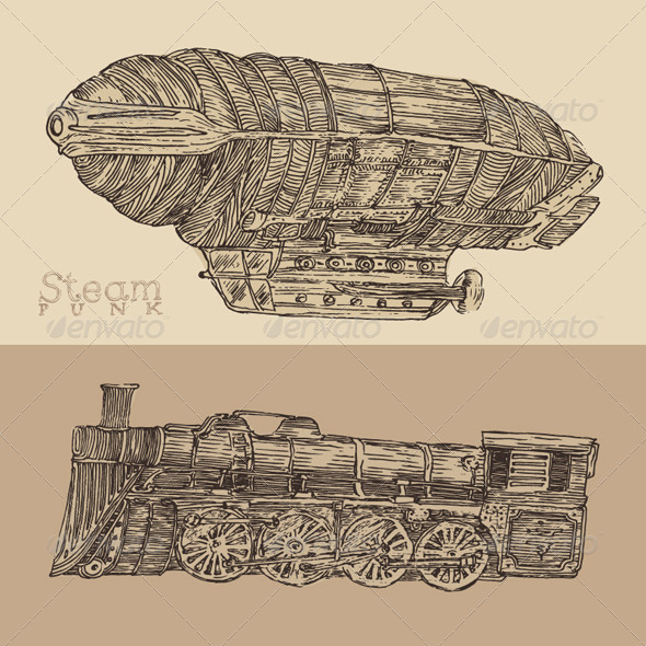 GraphicRiver Steam Punk Airship and Train 8038257