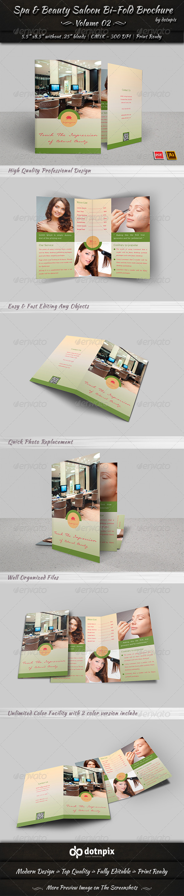 GraphicRiver Spa & Beauty Saloon Bi-Fold Brochure Volume 2 8035535