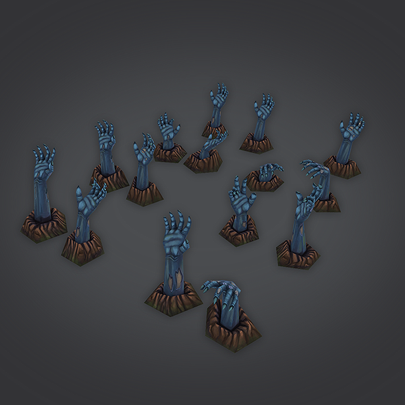 3docean - low poly zombie hands set