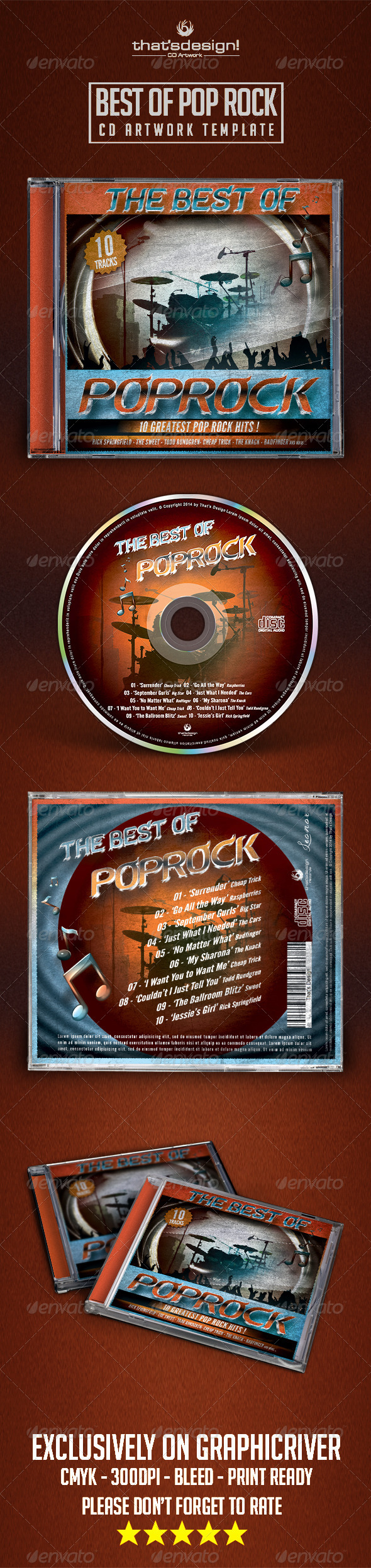GraphicRiver Best of Pop Rock CD Artwork Template 8038647