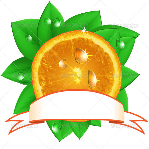 GraphicRiver Juicy Fresh Orange with Leaves and Ribbon 8039614