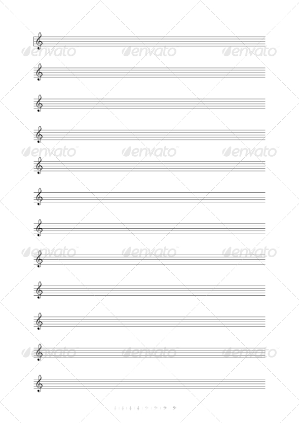 Blank A4 Music Notes with Treble Clef