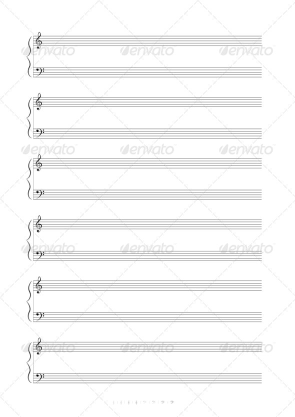 GraphicRiver Blank A4 Music Notes 8039637