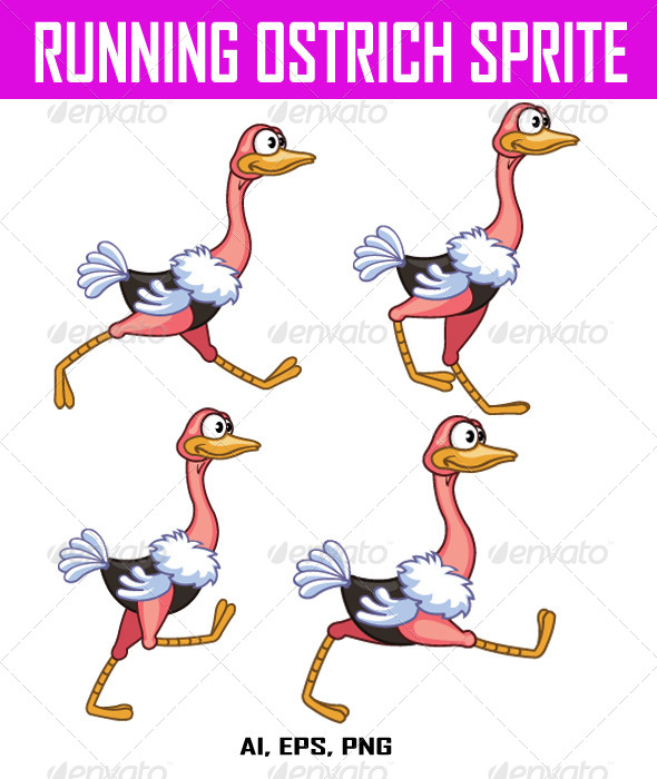 GraphicRiver Running Ostrich Sprite 8040066